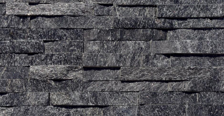 Quartzite Stone Tile : Sample black quartz split face mosaic tile